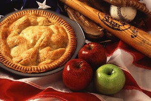 American cultural icons, apple pie, baseball, and the American flag